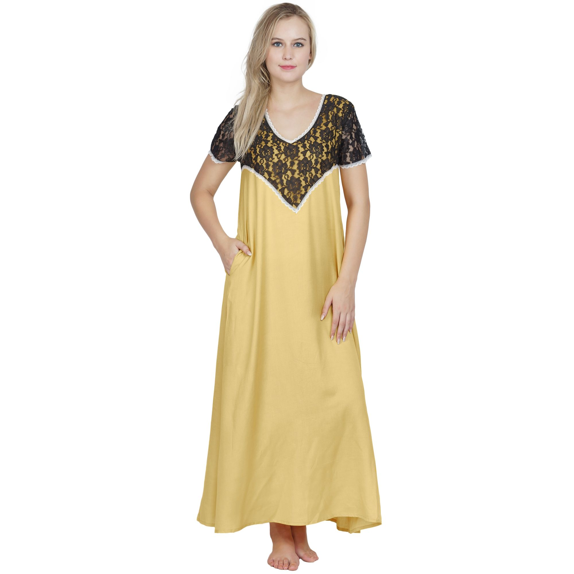Stylish Lace Bodice and Neck Maxi Nighty in Gold