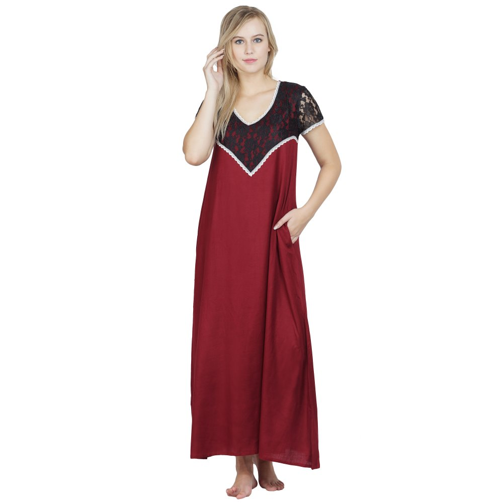 Stylish Lace Bodice and Neck Maxi Nighty in Maroon