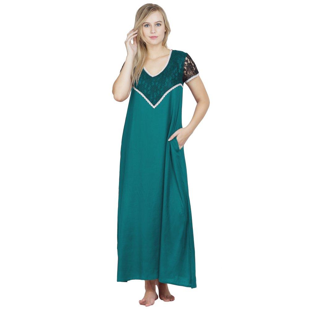 Stylish Lace Bodice and Neck Maxi Nighty in Rama Green