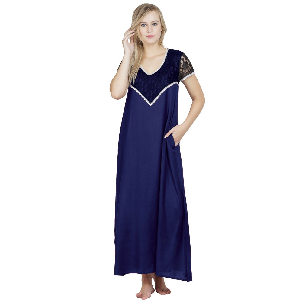Stylish Lace Bodice and Neck Maxi Nighty in Royal Blue