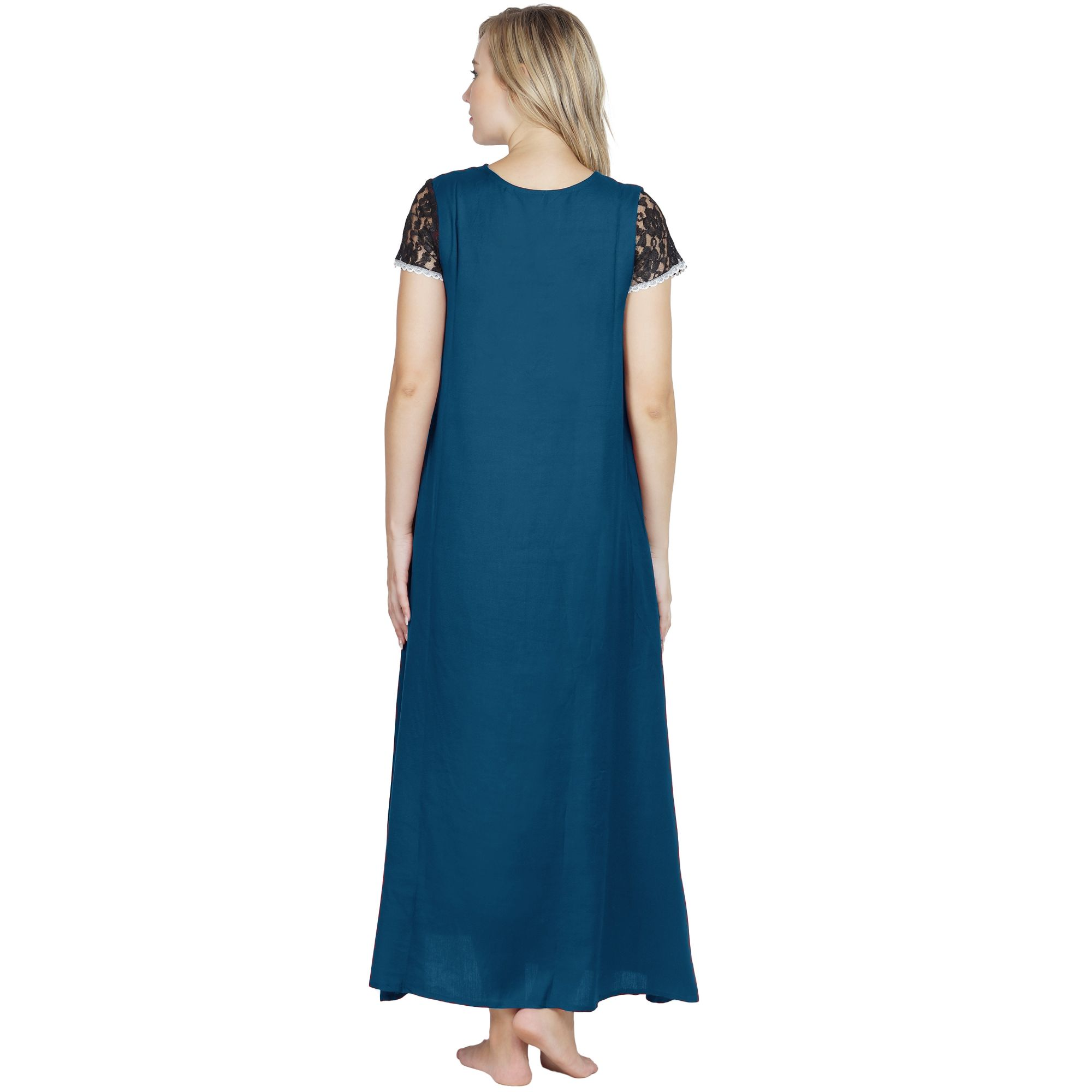 Stylish Lace Bodice and Neck Maxi Nighty in Sky Blue