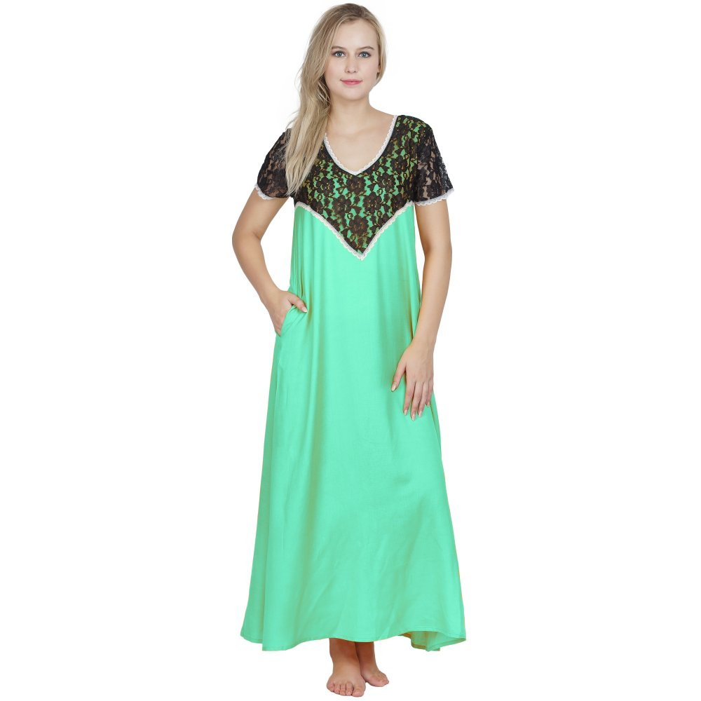 Stylish Lace Bodice and Neck Maxi Nighty in Teal Green