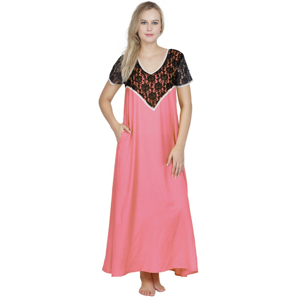 Stylish Lace Bodice and Neck Maxi Nighty in Vinyl Hot Pink