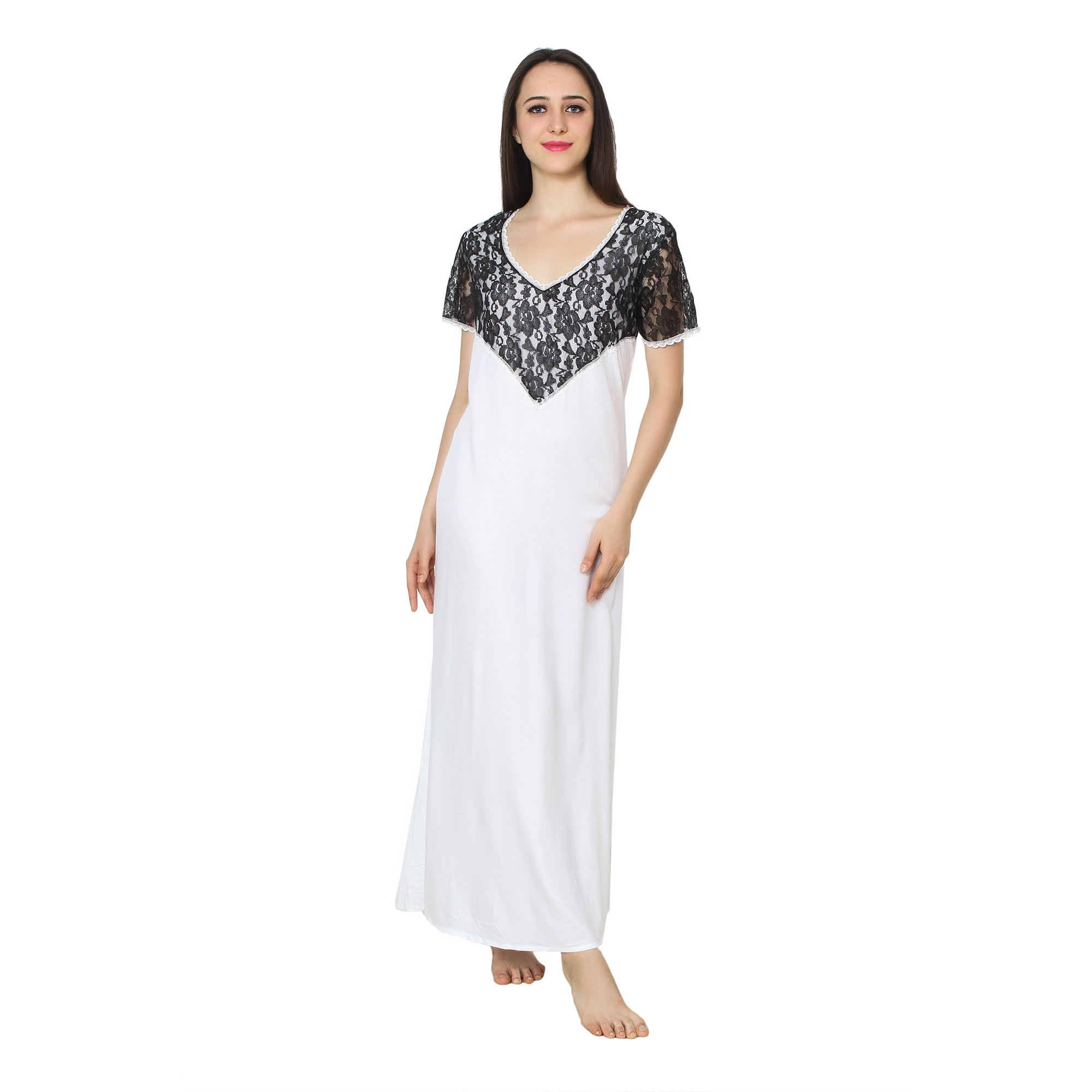 Stylish Lace Bodice and Neck Maxi Nighty in White