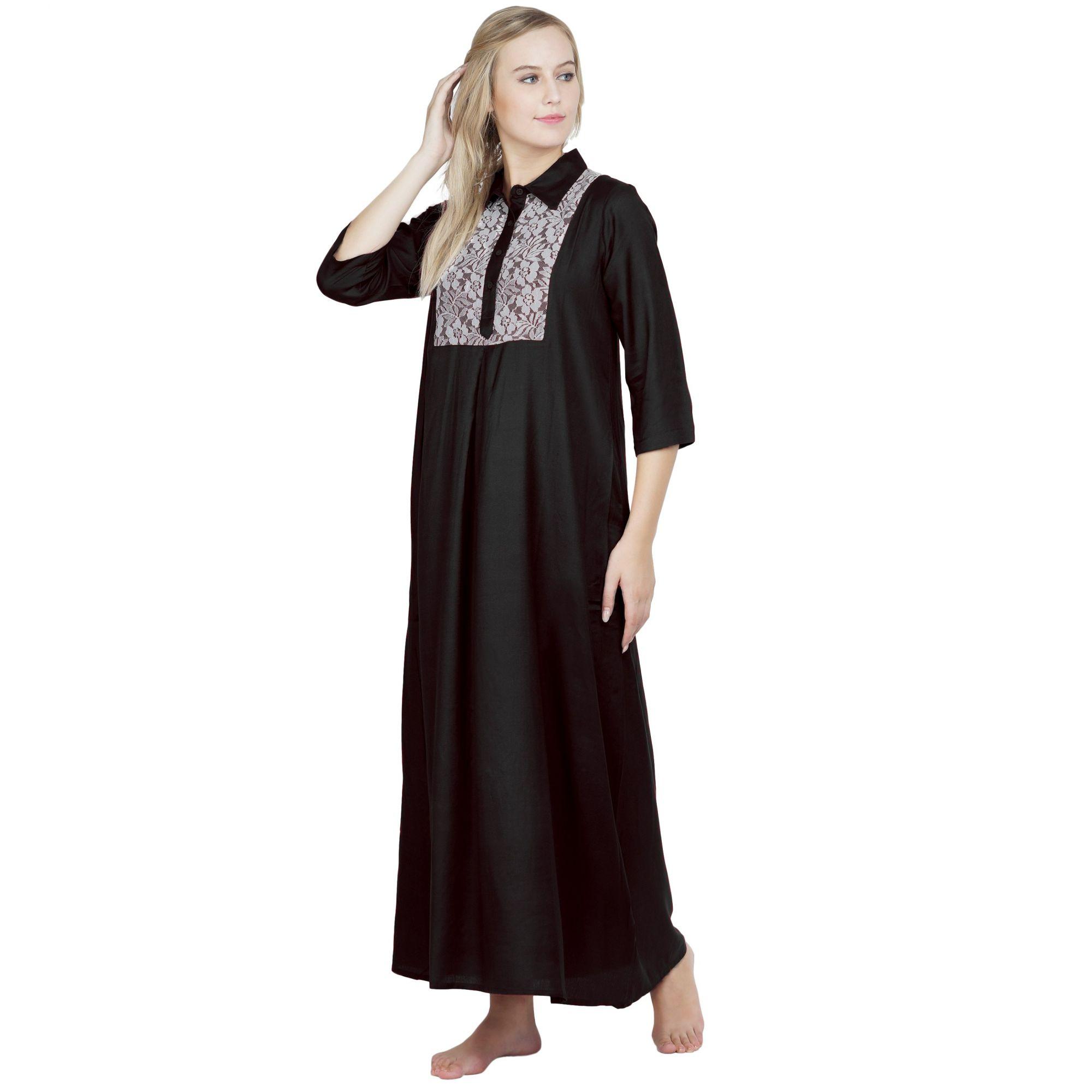 Stylish Lace Bodice Shirtdress Maxi Nighty Gown in Black