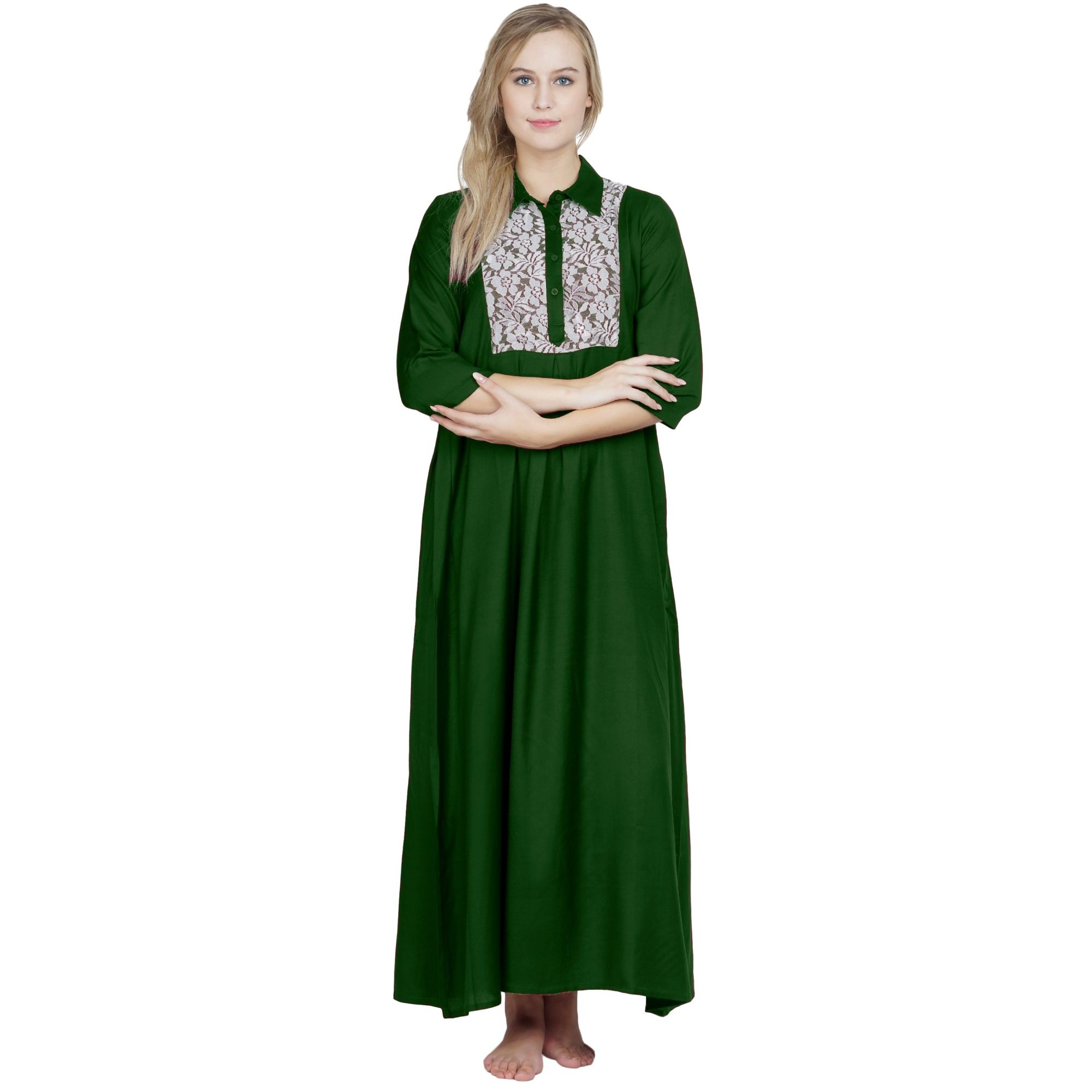 Stylish Lace Bodice Shirtdress Maxi Nighty Gown in Bottle Green