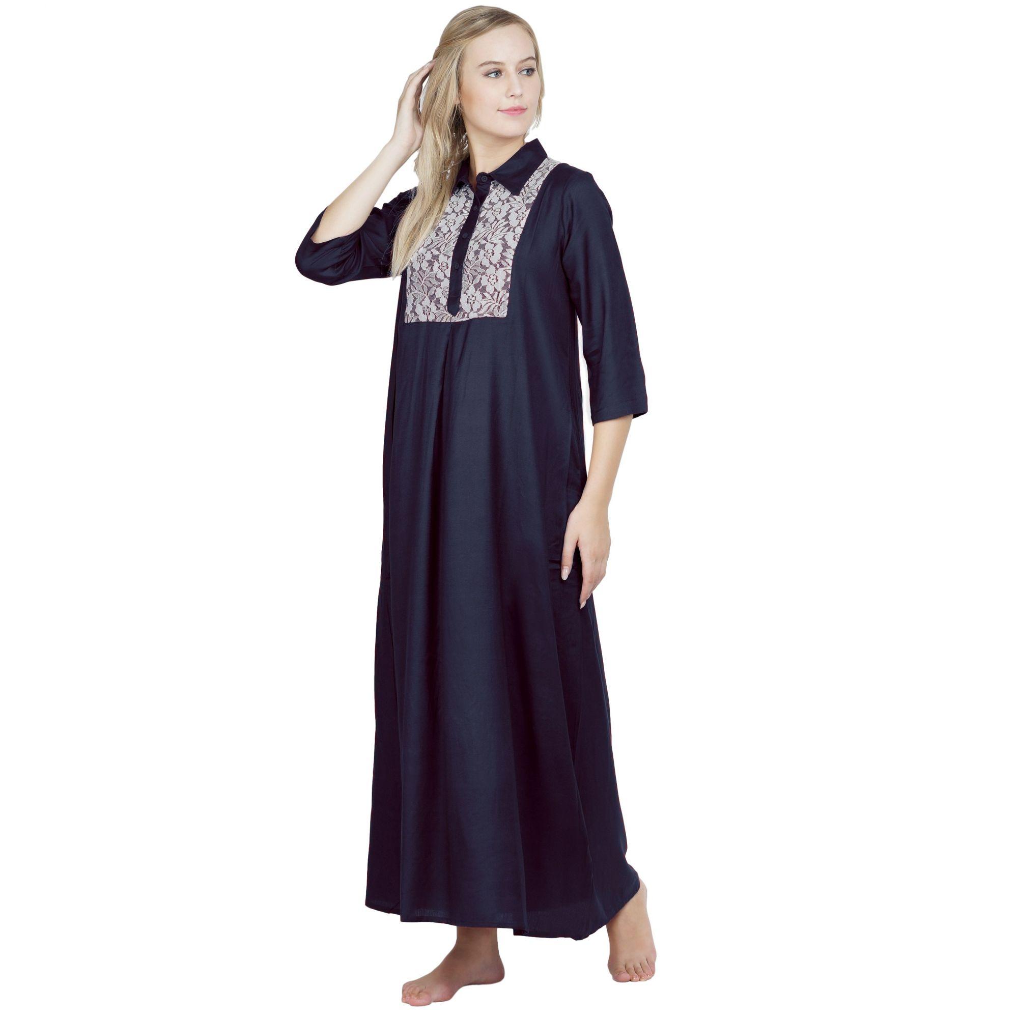 Stylish Lace Bodice Shirtdress Maxi Nighty Gown in Dark Blue
