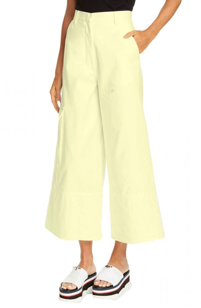 Tapered Fit Cargos Trousers in Cream