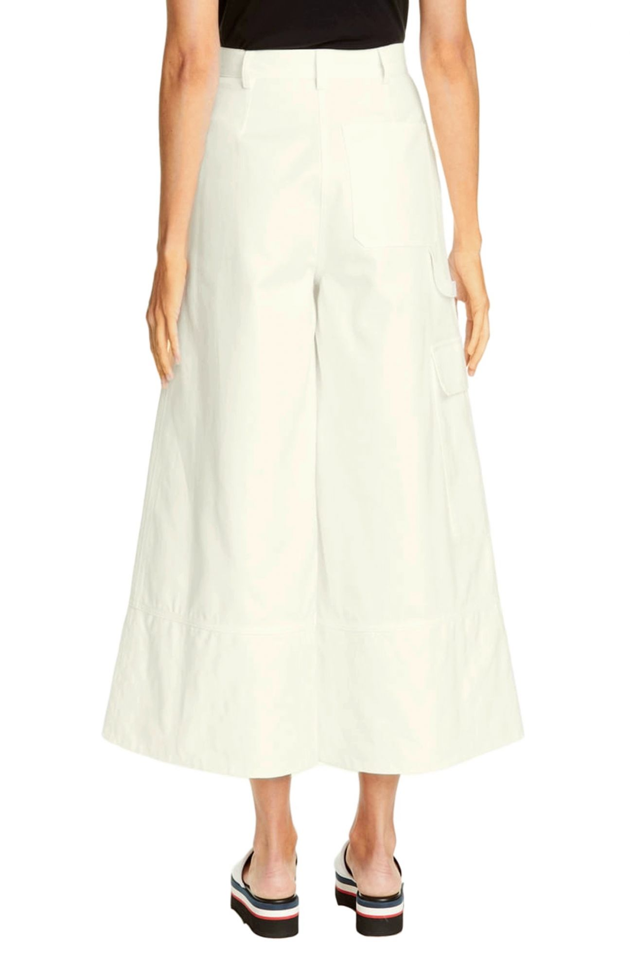 Tapered Fit Cargos Trousers in Off-White