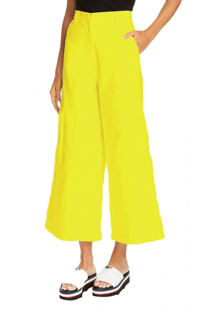 Tapered Fit Cargos Trousers in Yellow