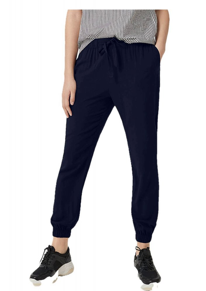 Tapered Fit Carrot Trousers in Dark Blue