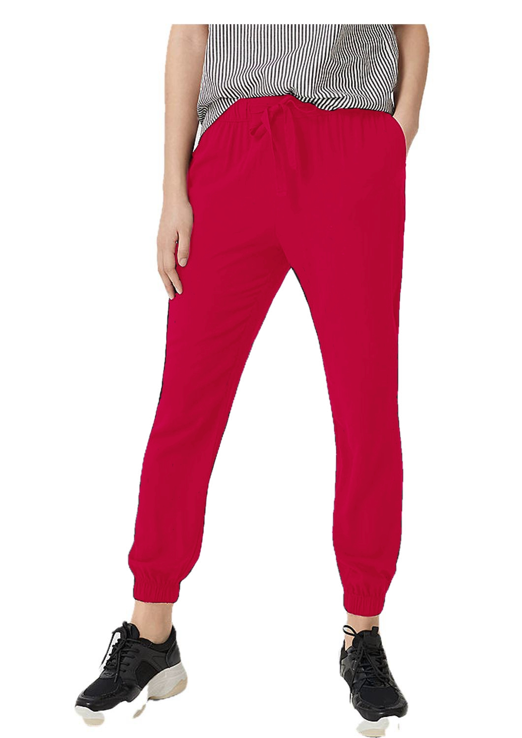 Tapered Fit Carrot Trousers in Fuchsia