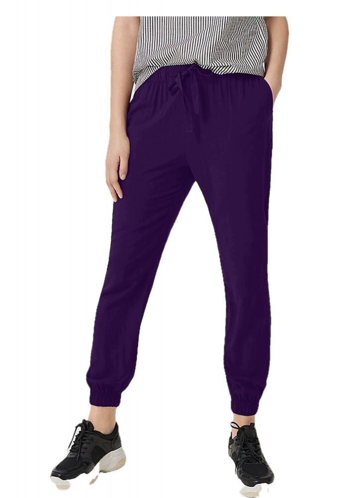 Tapered Fit Carrot Trousers in Purple
