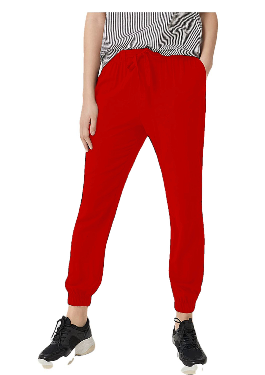 Tapered Fit Carrot Trousers in Red