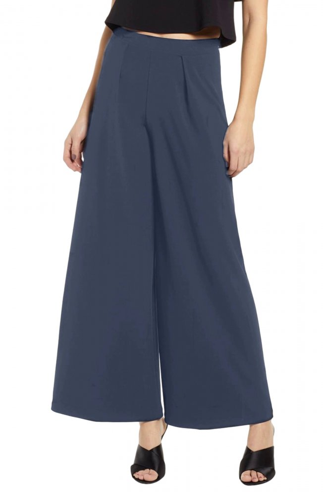 Tapered Style Palazzo Pant in Charcoal Grey