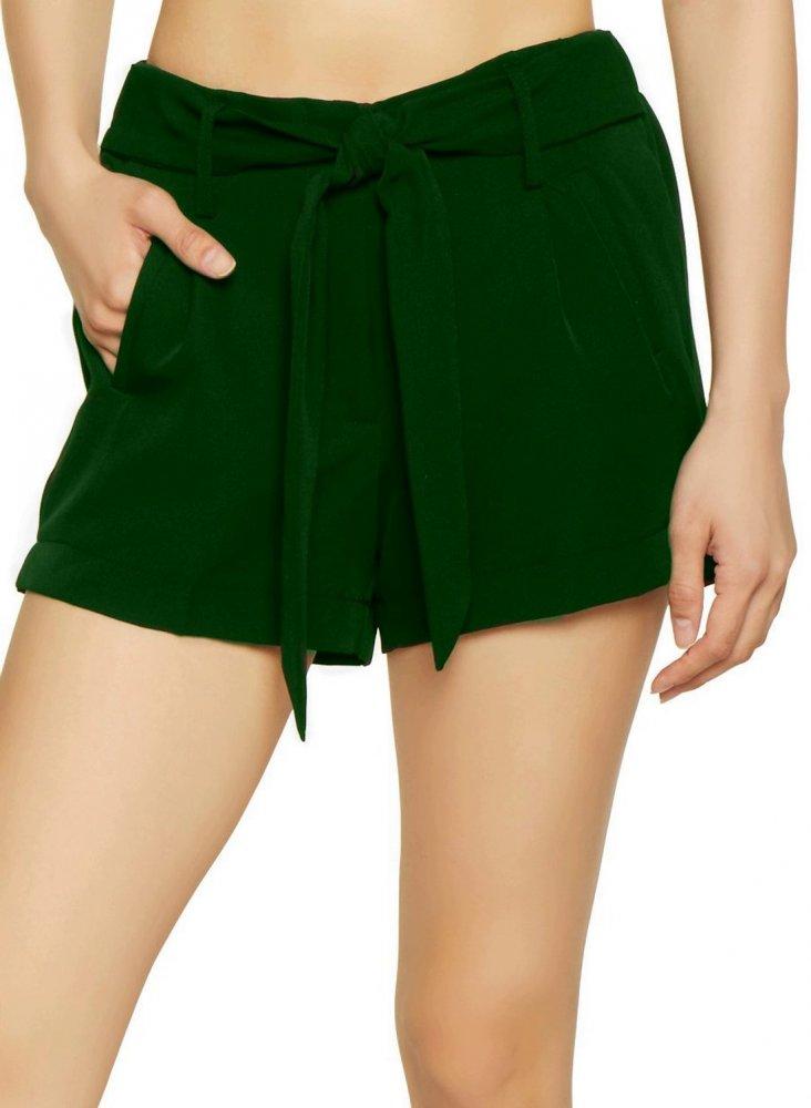 Tie Belt Chino Shorts in Bottle Green