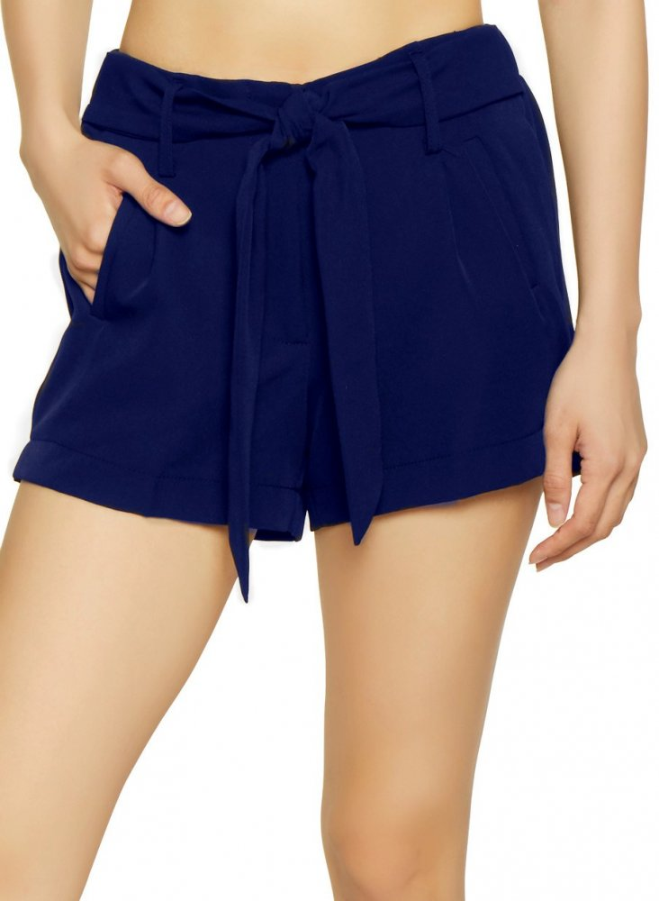 Tie Belt Chino Shorts in Royal Blue