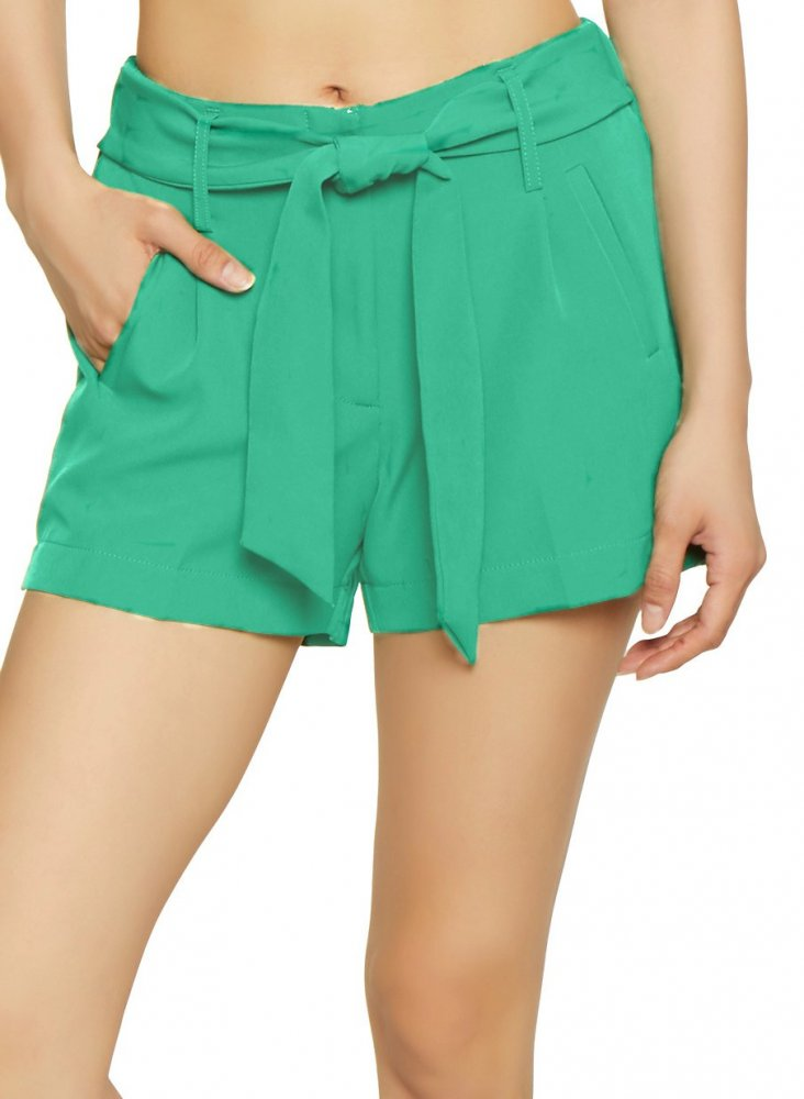Tie Belt Chino Shorts in Teal Green