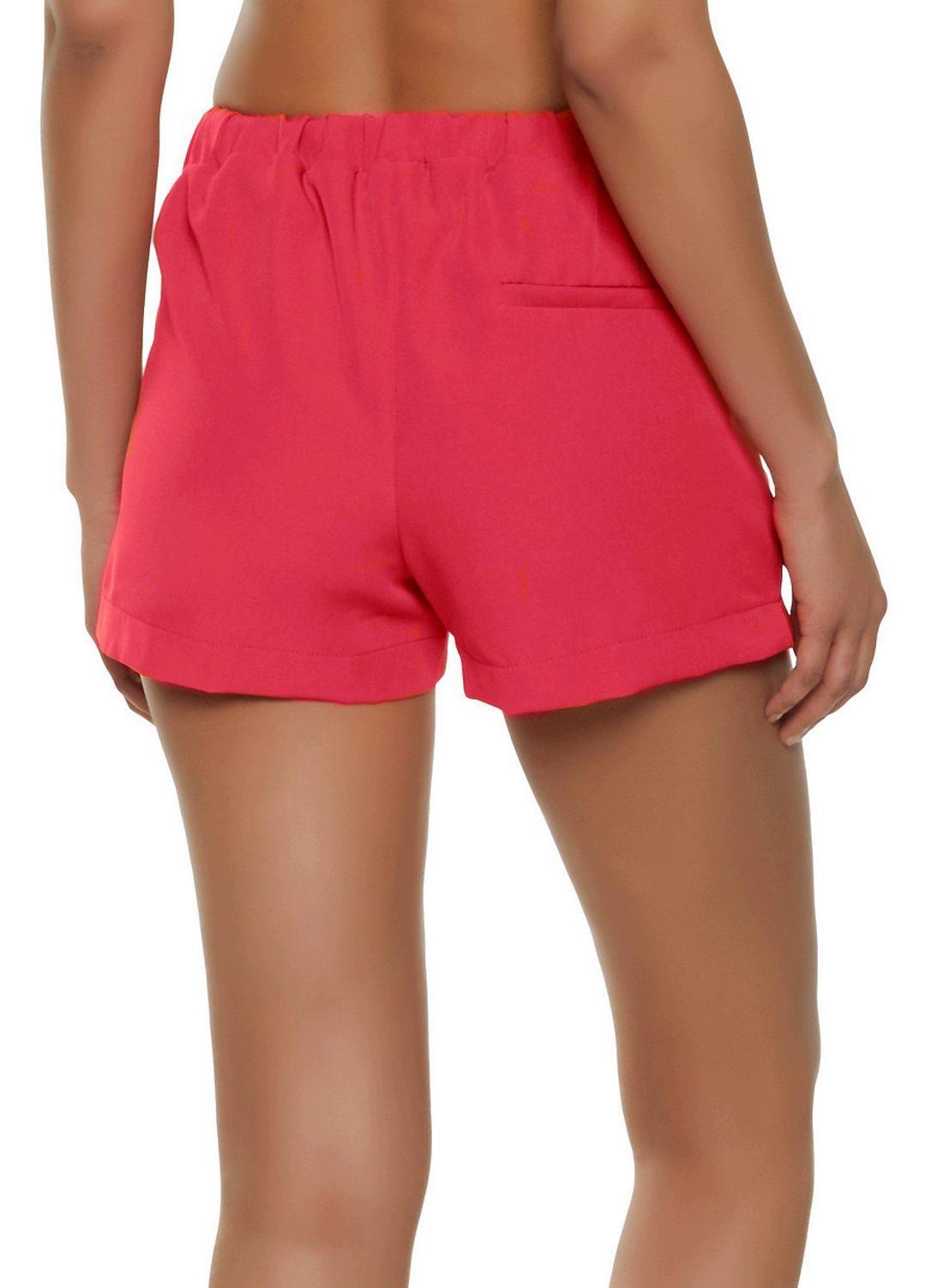 Tie Belt Chino Shorts in Vinyl Hot Pink