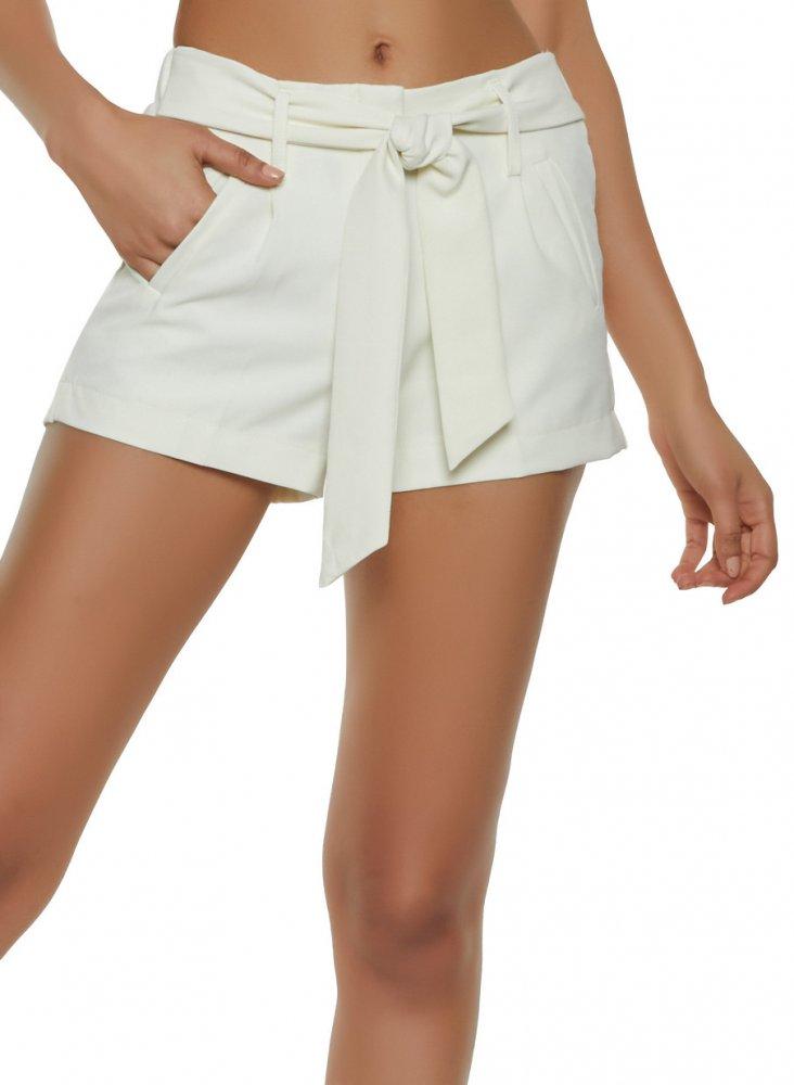Tie Belt Chino Shorts in White