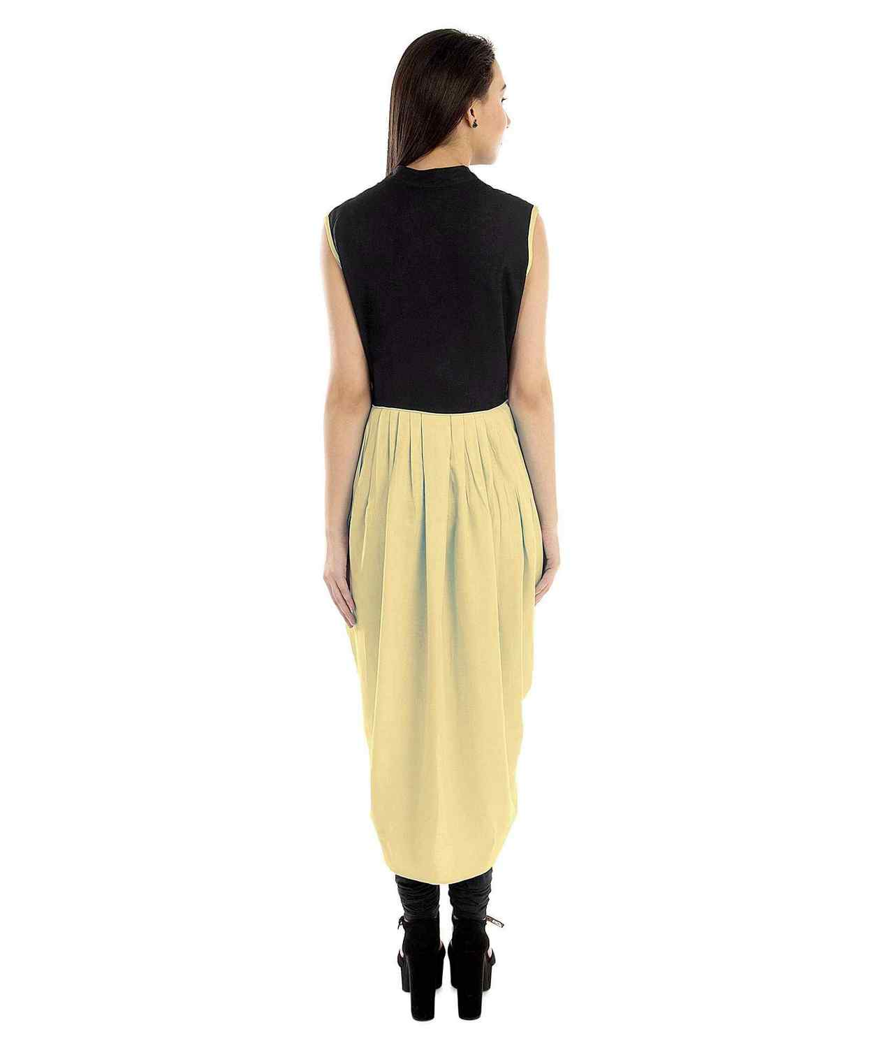 Top  Dhoti Style Cocktail Midi Dress  in Black:Gold
