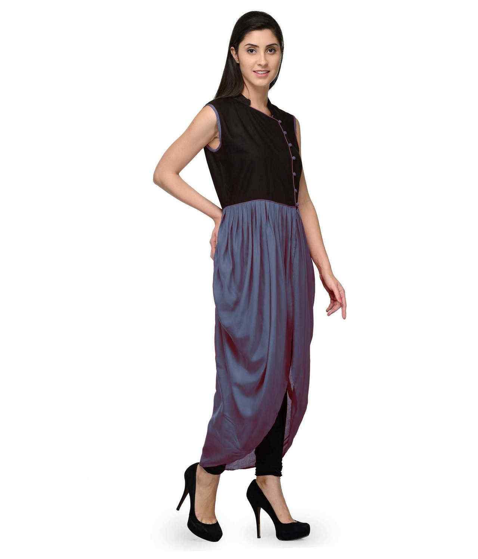 Top  Dhoti Style Cocktail Midi Dress  in Black:Grey