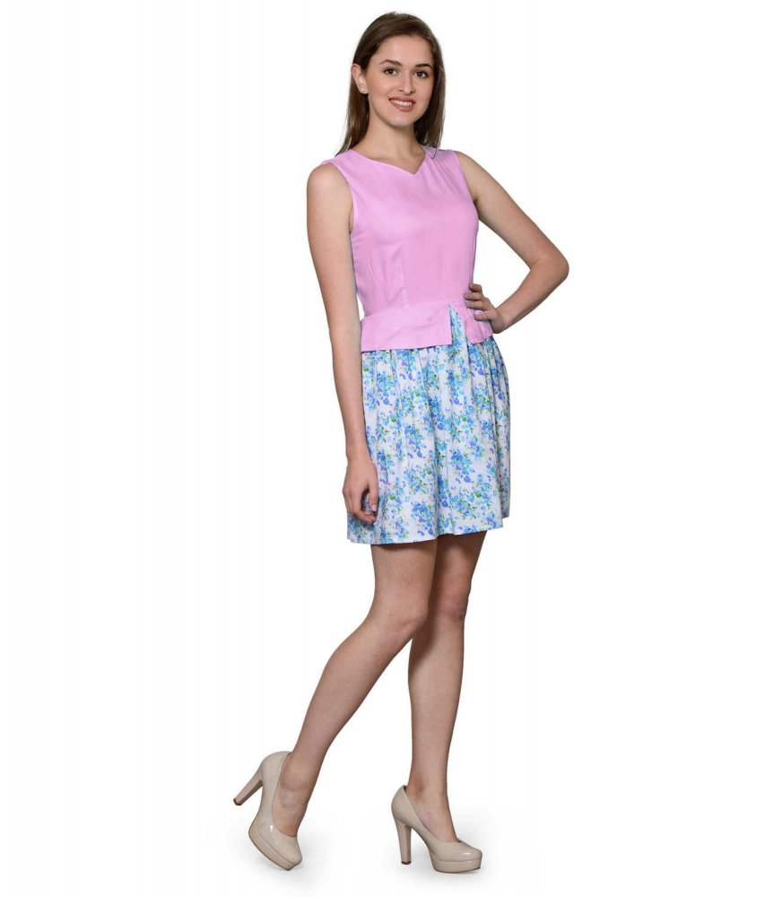 Top and Skirt Style Cocktail Mini Dress in Baby Pink:Multicolour
