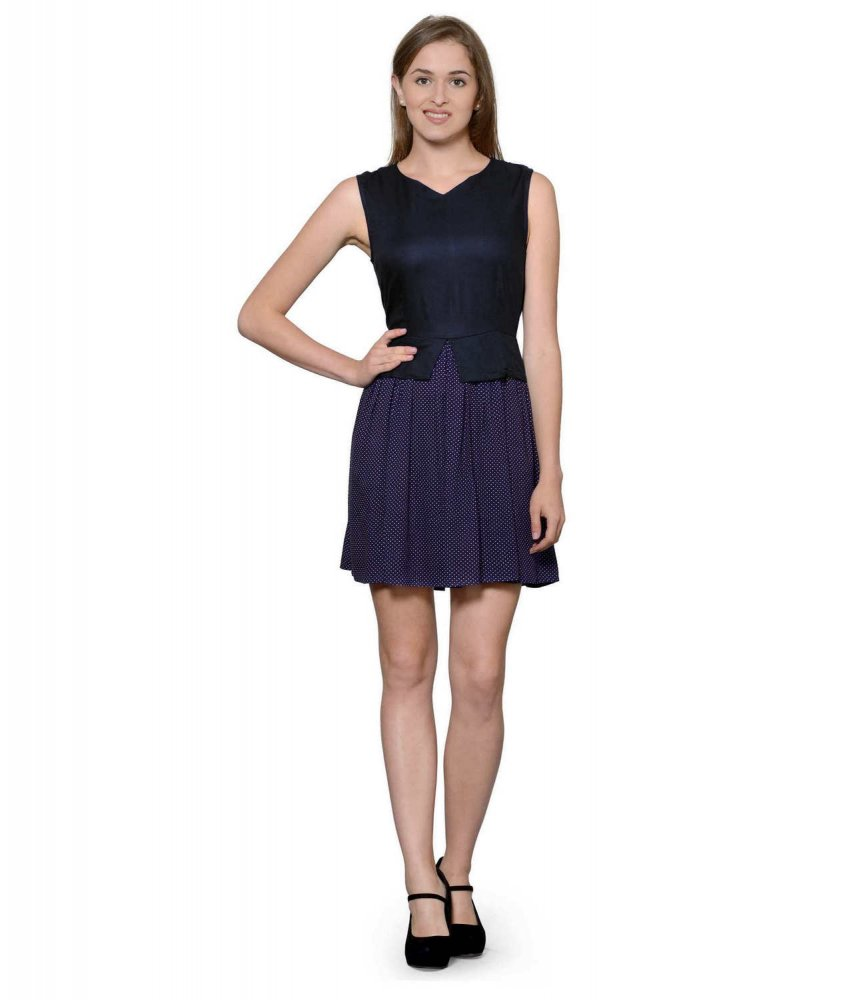 Top and Skirt Style Cocktail Mini Dress in Black:Navy Polka Dot