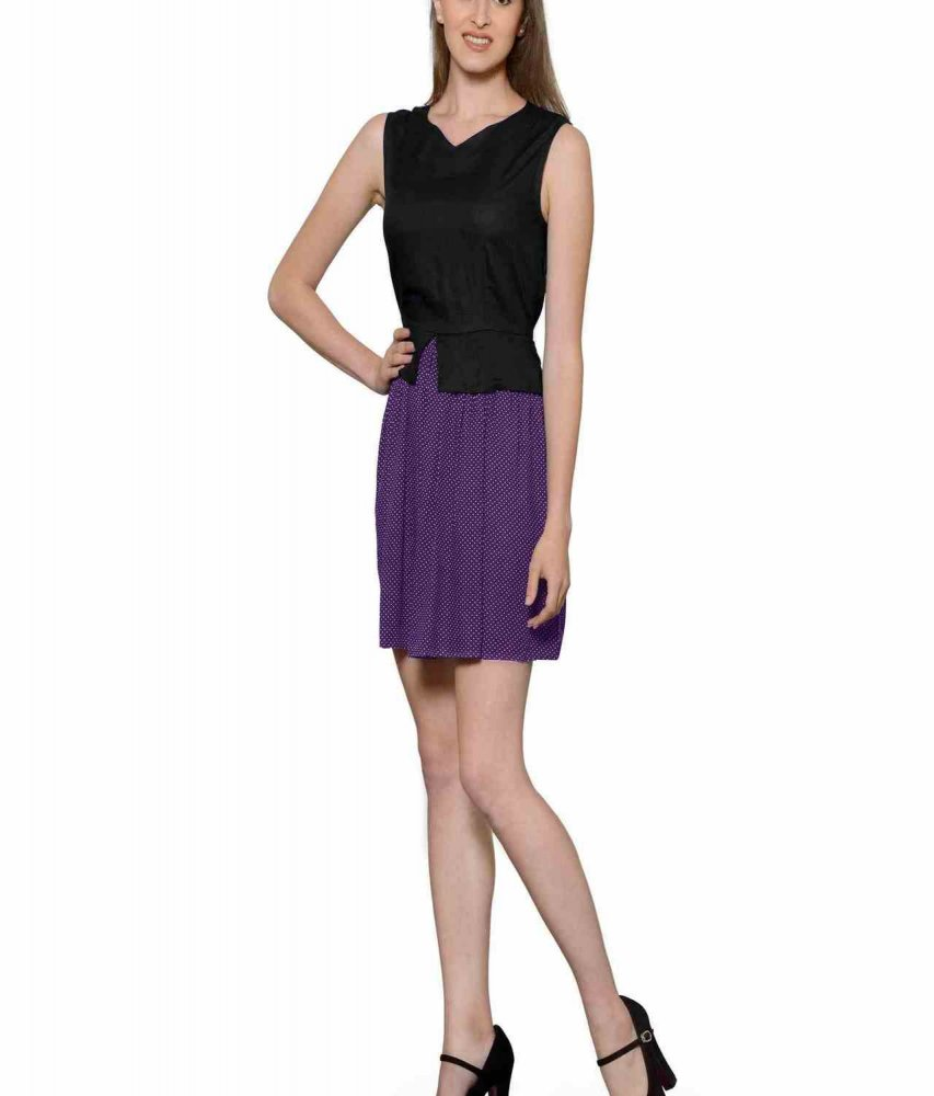 Top and Skirt Style Cocktail Mini Dress in Black:Purple Polka Dot