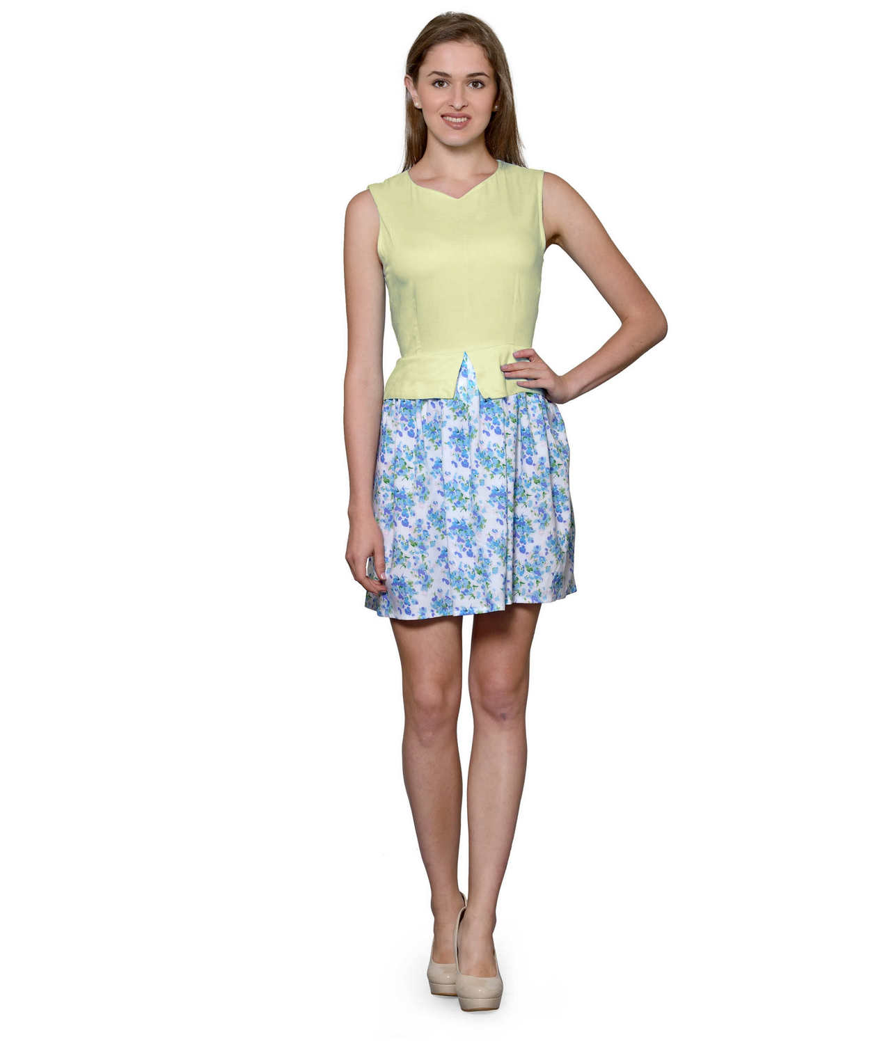 Top and Skirt Style Cocktail Mini Dress in Cream:Multicolour