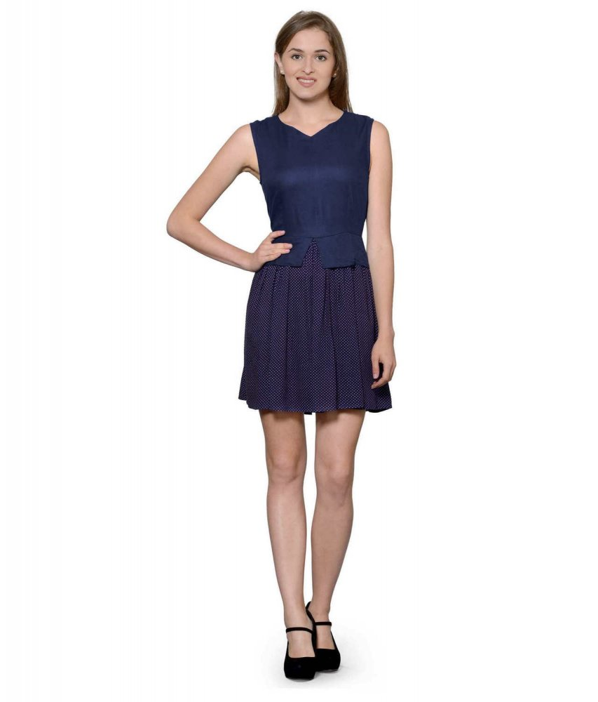 Top and Skirt Style Cocktail Mini Dress in Dark Blue:Navy Polka Dot