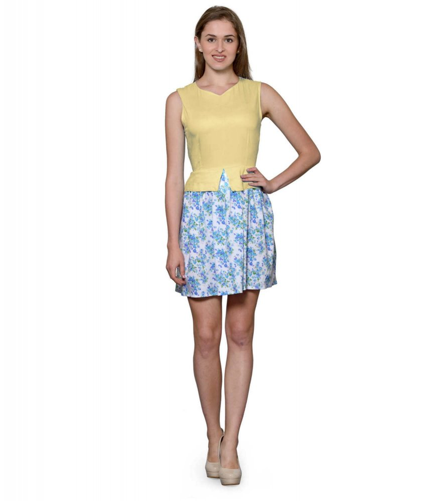 Top and Skirt Style Cocktail Mini Dress in Gold:Multicolour