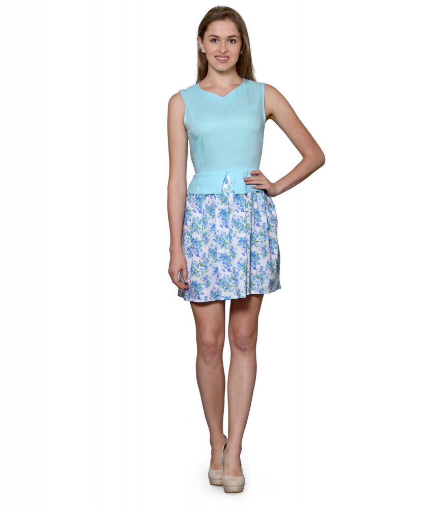 Top and Skirt Style Cocktail Mini Dress in Light Blue:Multi-Coloured