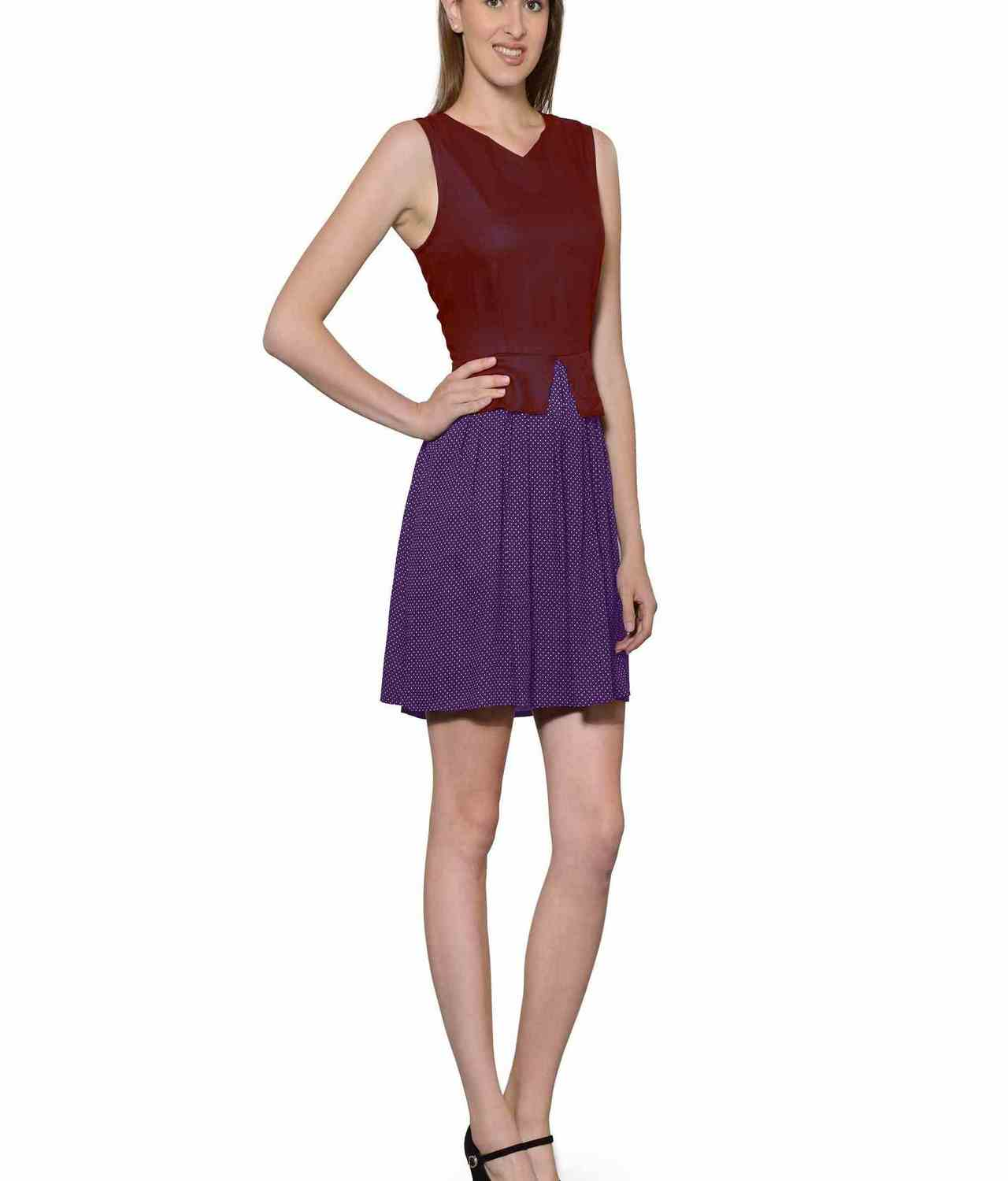 Top and Skirt Style Cocktail Mini Dress in Maroon:Purple Polka Dot