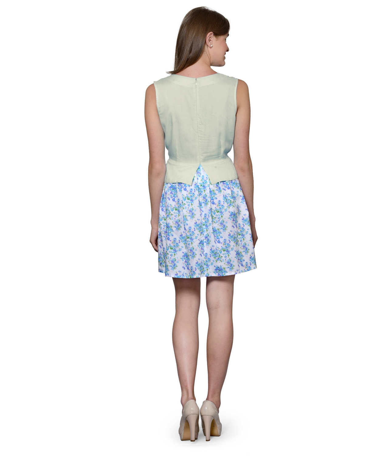 Top and Skirt Style Cocktail Mini Dress in Off-White:Multicolour