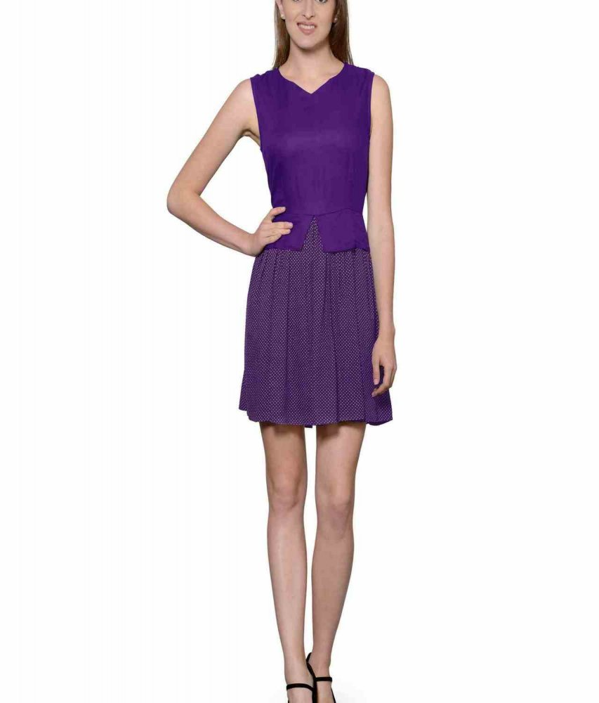 Top and Skirt Style Cocktail Mini Dress in Purple:Purple Polka Dot
