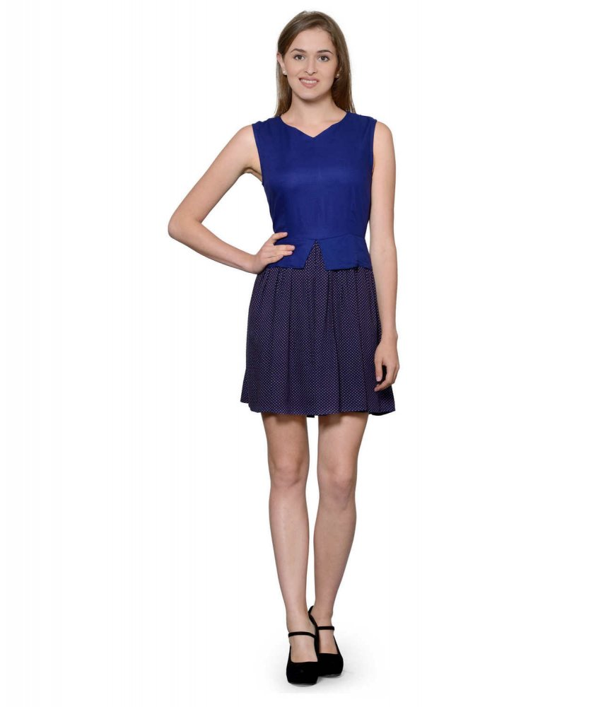 Top and Skirt Style Cocktail Mini Dress in Royal Blue:Navy Polka Dot