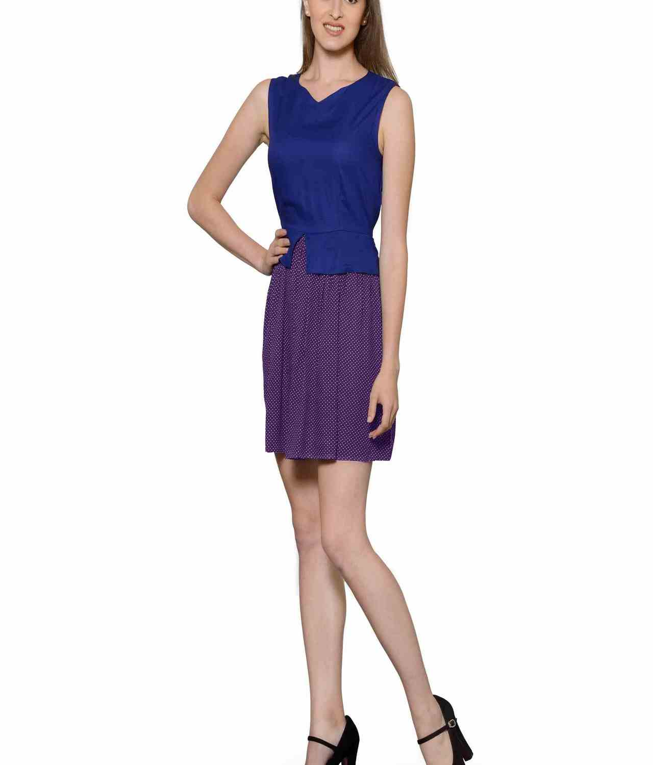 Top and Skirt Style Cocktail Mini Dress in Royal Blue:Purple Polka Dot