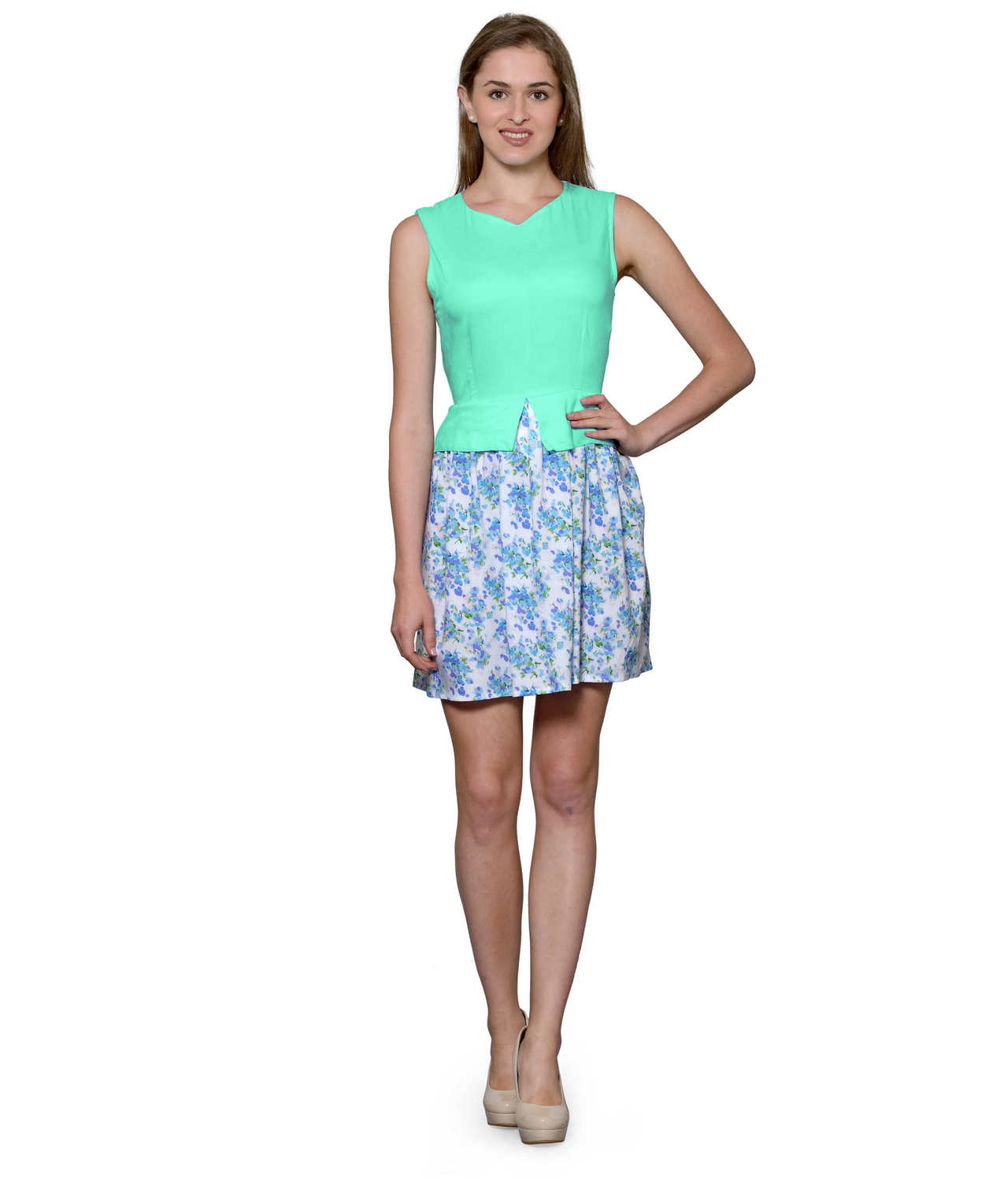 Top and Skirt Style Cocktail Mini Dress in Teal Green:Multicolour