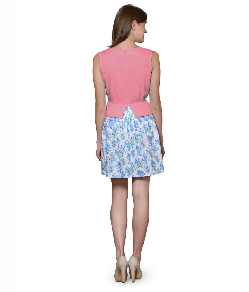 Top and Skirt Style Cocktail Mini Dress in Vinyl Hot Pink:Multicolour