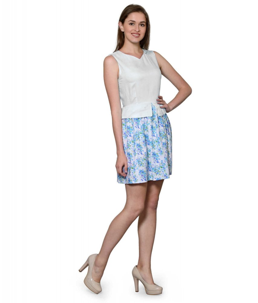 Top and Skirt Style Cocktail Mini Dress in White:Multicolour