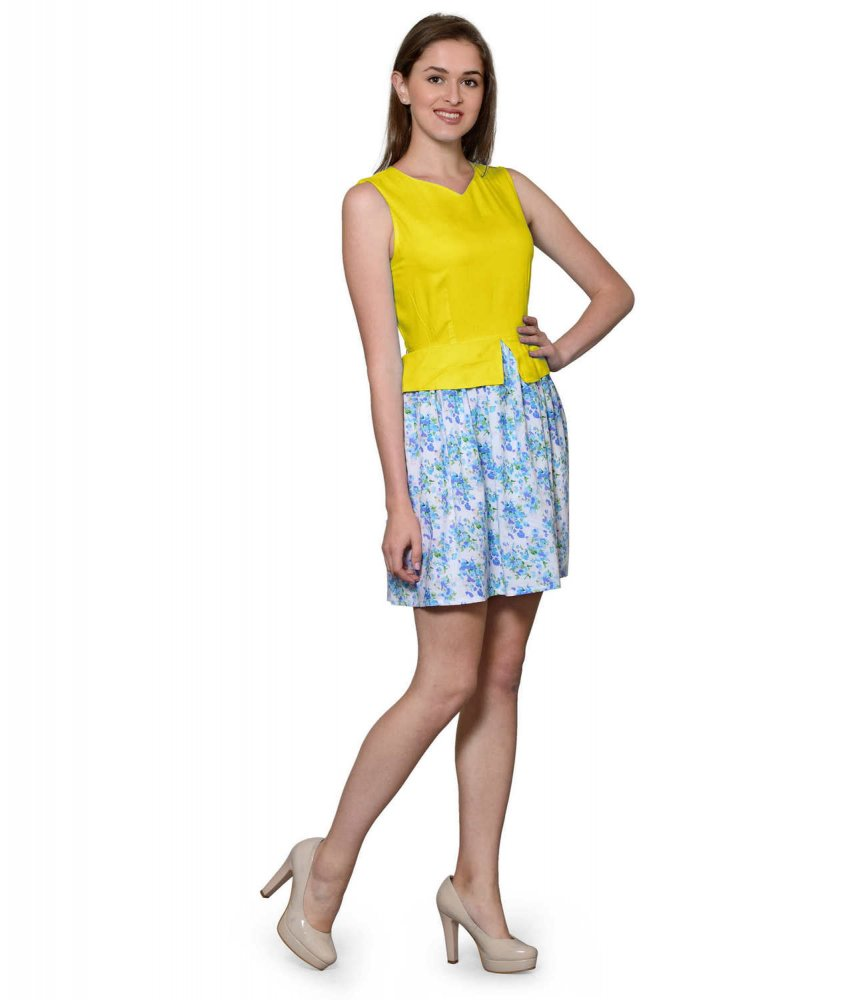 Top and Skirt Style Cocktail Mini Dress in Yellow:Multicolour