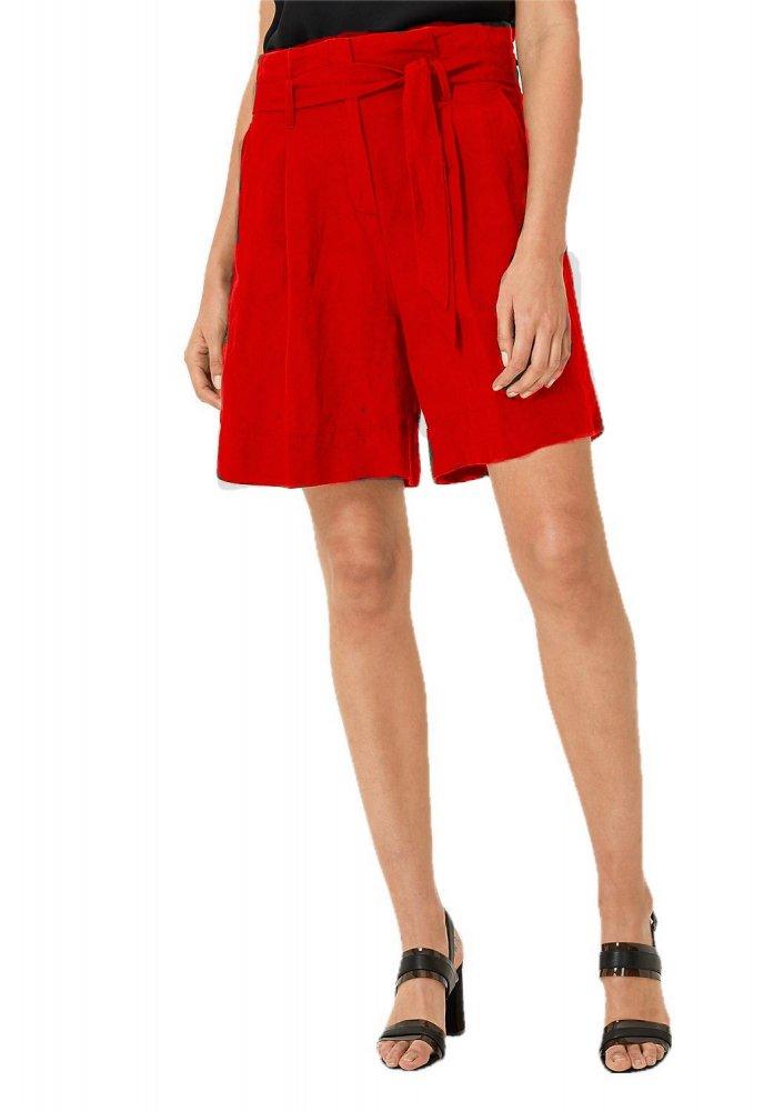 Trouser Cut Bermuda Shorts in Red
