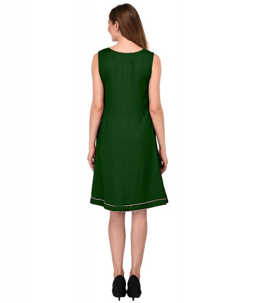 Tulip Knee Length Peplum Dress in Bottle Green