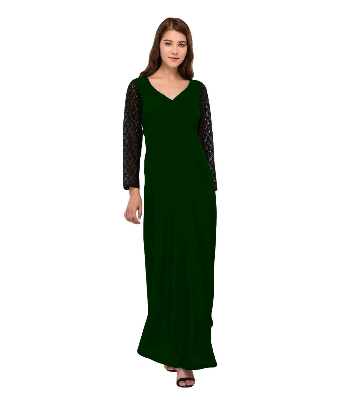 Tulip Peplum Net Work Maxi Dress in Black:Bottle Green