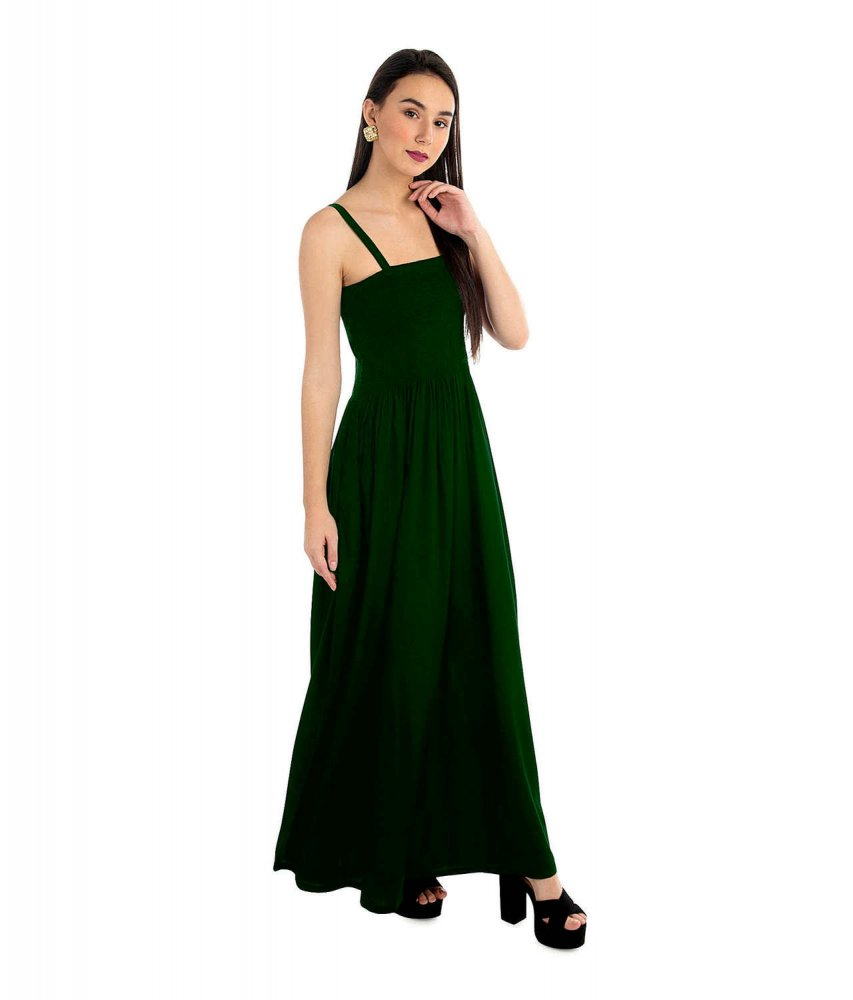 Tulip Prom Embroidered Maxi Dress in Bottle Green