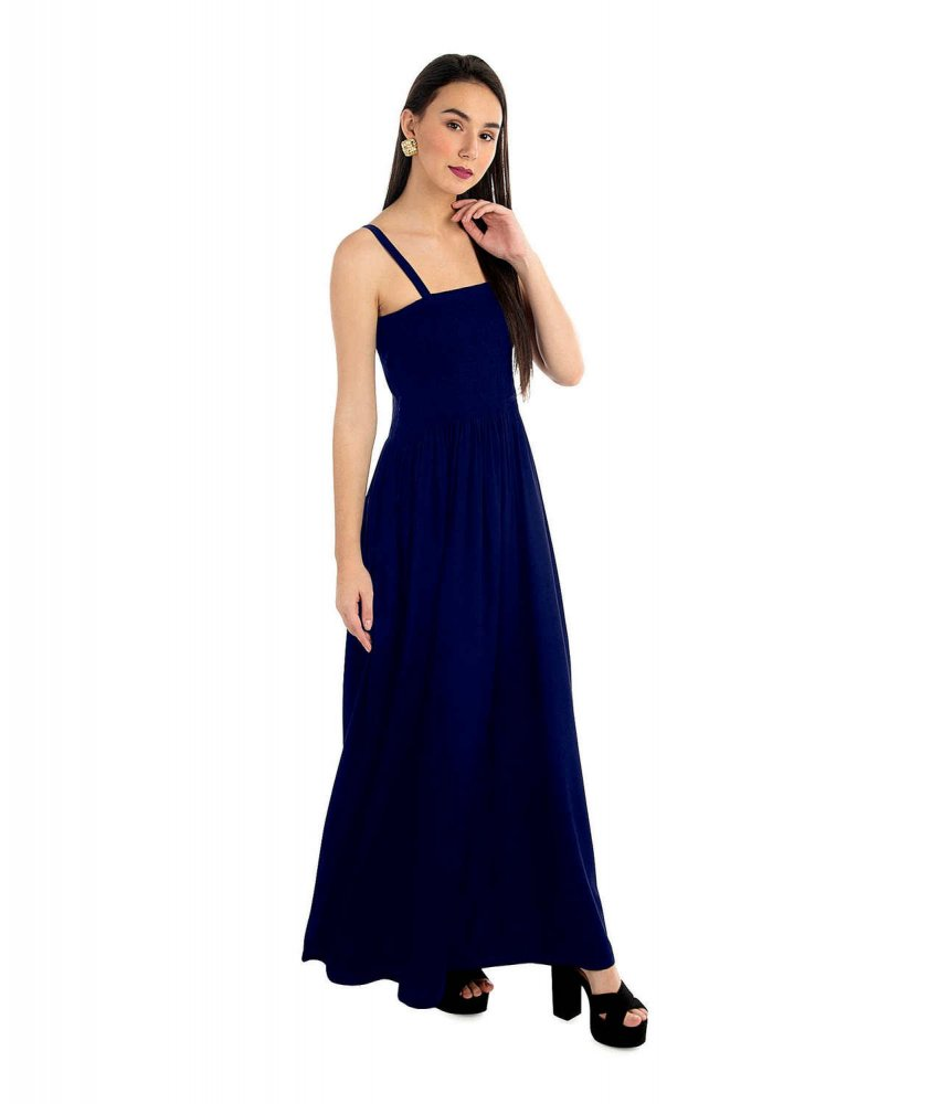 Tulip Prom Embroidered Maxi Dress in Royal Blue