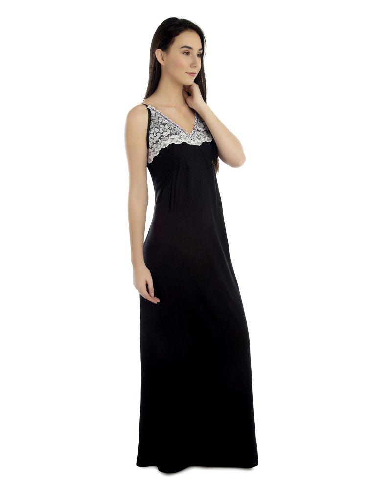 V-Neck Shoulder Strap Empire Dress in Black