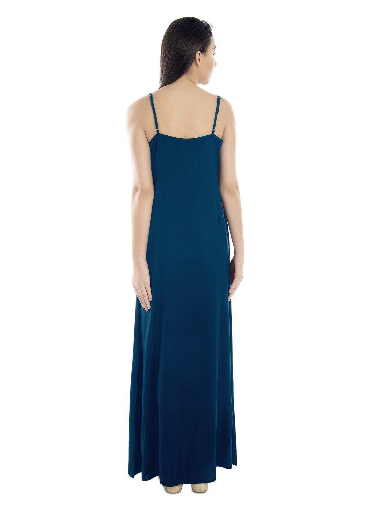 V-Neck Shoulder Strap Empire Dress in Sky Blue