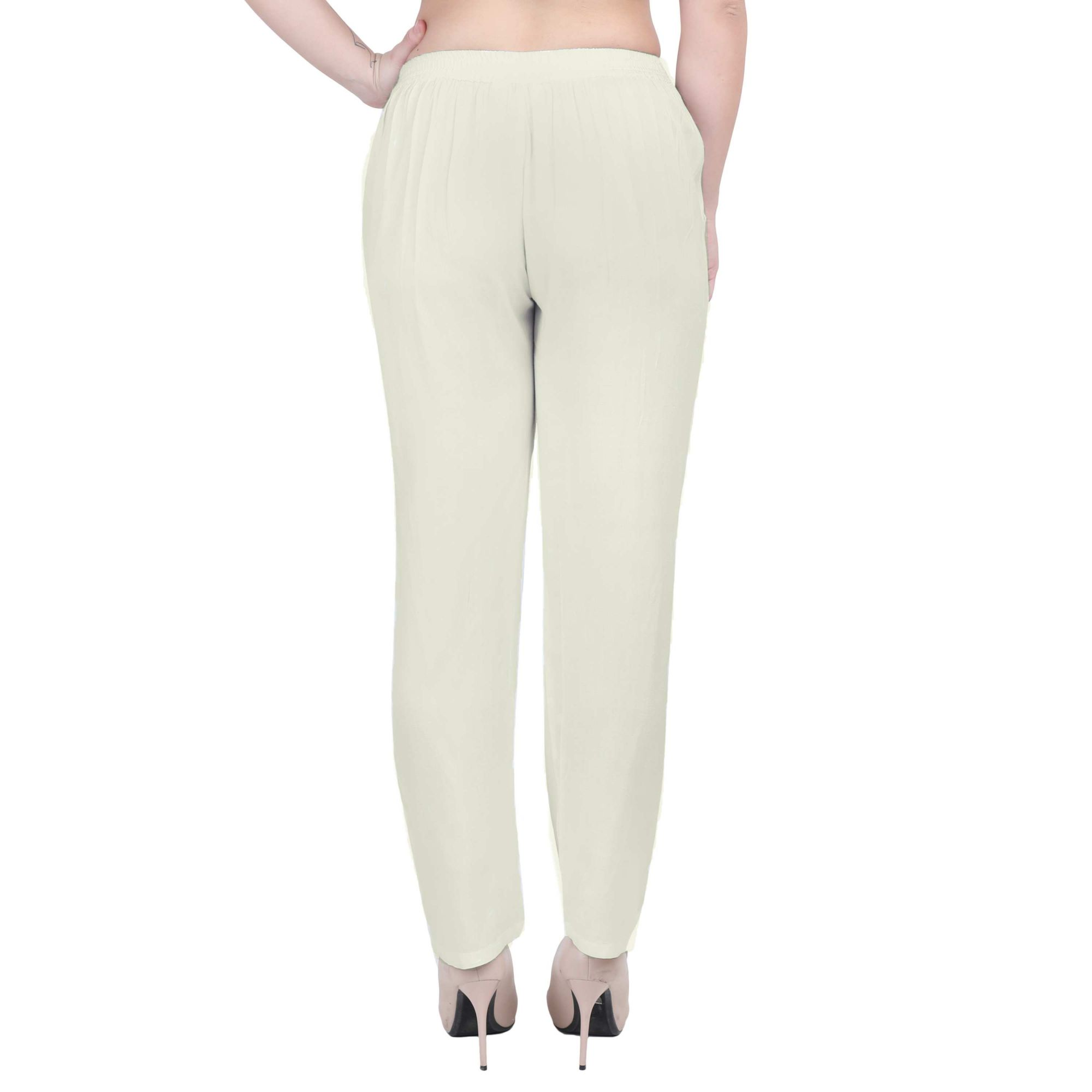 Western Fit Formal Trousers in Off-White